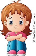 sozinha, menina, triste, caricatura, sentando