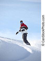 sozinha, snowboarding, homem