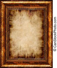 spálený, antický, zarámovaný, pergamen