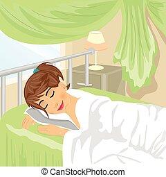 spánci, ložnice, lampa, nezkušený, mladistvý, večer tabule, děvče, opona