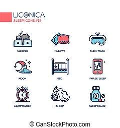 spánek, -, barevný, moderní, jednoduché vedení, ikona, dát