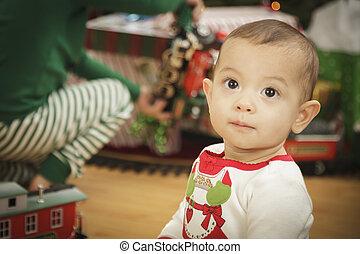 spädbarn baby, avnjut, jul morgon, nära, den, träd