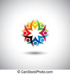 spänd, graphic., barn, grupp, arbetare, -, också, gemenskap,...