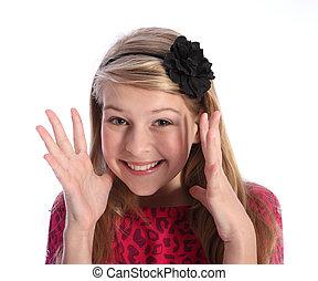 spänd, ung, blondin, utbilda flicka, med, söt, le