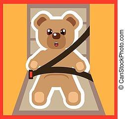 spänne, vektor, Uppe, björn,  teddy
