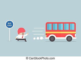 spät, bus, ankommen, halt, geschäftsmann