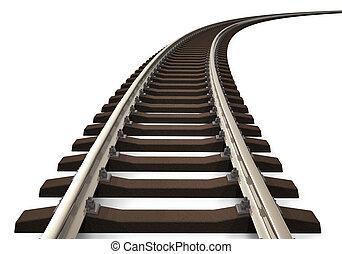 spåra, böjd, järnväg