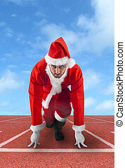 spåra, claus, spring, jultomten, ställning, startande