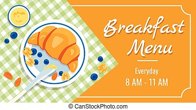 spécial, bannière, temps, petit déjeuner, sain, plaque, offers., menu, annonce, keto-dieting., miel, vecteur, checkered, délicieux, myrtilles, blanc, tablecloth., croissant, amande, gabarit, noix
