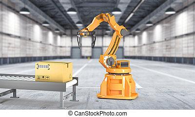 spécial, boîtes, transport, mécanicien, emballage, hydraulique, isolé, illustration, ensemble, machine, utilisation, robot, carton, bras, blanc