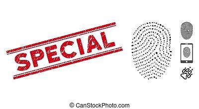 spécial, doigt, ligne, mosaïque, timbre, impression, ...