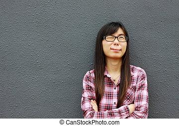 spécial, femme, expression, asiatique, facial