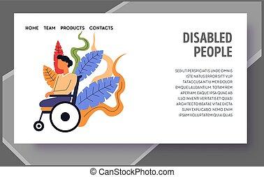 spécial, gabarit, enfant, page, toile, handicapé, atterrissage, gens, besoins