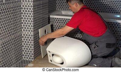 spécial, homme, ajouter, préparation, wall., bol, pendre, toilette, feuille, caoutchouc, plombier