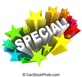 spécial, mot, étoiles, unique, économies, vente, événement