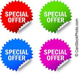 spécial, offre, étiquettes
