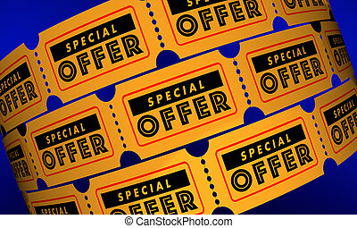 spécial, offre, billets, vente, escompte, affaire, 3d, illustration