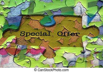 spécial, offre, puzzle, concept