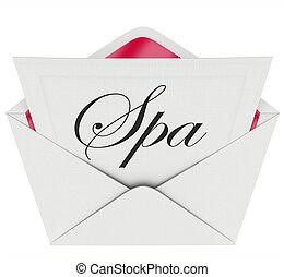 spécial, offre, relaxation, traitement, lettre, invitation, ...