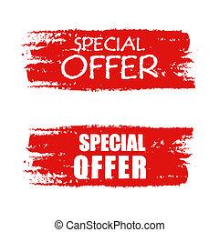 spécial, offre, sur, rouges, dessiné, bannière