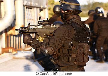 spécialisé, police, unité