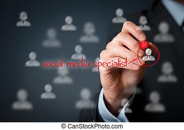 spécialiste, média, social