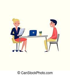 spécialiste, séance, hr, jeune, illustration, employeur, conversation, métier, vecteur, jobseeker, fond, entrevue, table, blanc, avoir, homme