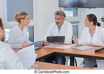 spécialistes, monde médical, réunion