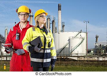 spécialistes, pétrochimique, sécurité