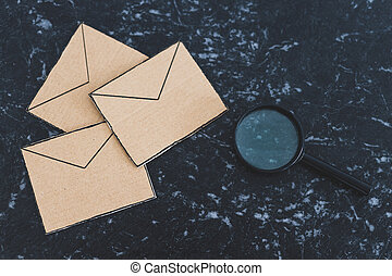 spécifique, verre, magnifier, dehors, enveloppe, inbox, filtrage, ton, analyser, email, groupe