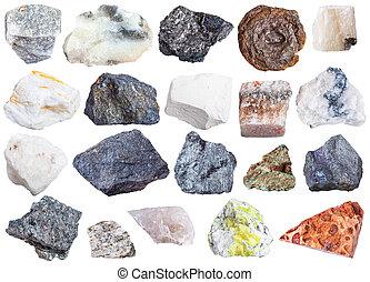 spécimens, naturel, minéral, collection