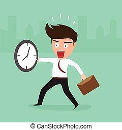 spóźniony, biznesmen, chodzenie, praca
