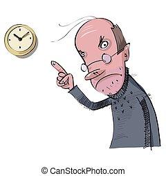spóźniony, wektor, praca, ilustracja