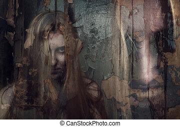 spöke, byggnad, övergiven, dubbel, flicka, exponering