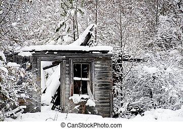 spöke, byggnad, gammal, snö