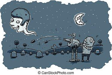 spöke, gevär, flykt