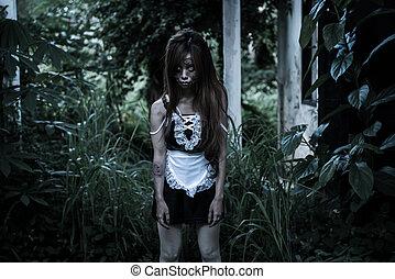 spöke, hembiträde, skrämd, asiat