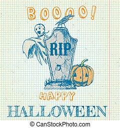 spöke, klotter, -, pumpa, gravsten, halloween