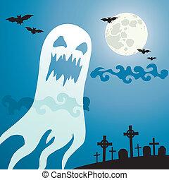 spöke, kyrkogård