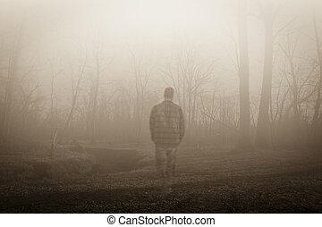 spöke, längs, vandrande, flodstrand