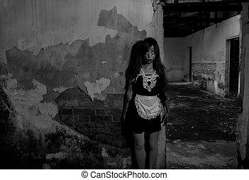 spöke, skrämmande, berättelse, hembiträde