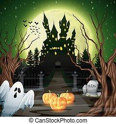 spöke, skrämmande, slott, veder, pumpor