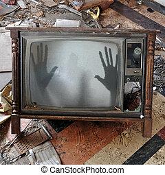 spöke, utkommer, på, fladdrande, television färdig