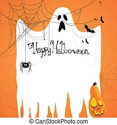 spöke, vektor, halloween, bakgrund