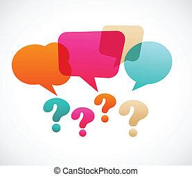 spørgsmål, bubles, tale, mærke