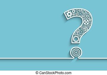 spørgsmål, det gears, mærke