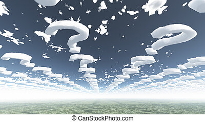 spørgsmål, facon, skyer, mærkerne