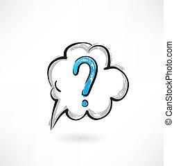 spørgsmål, grunge, sky, ikon