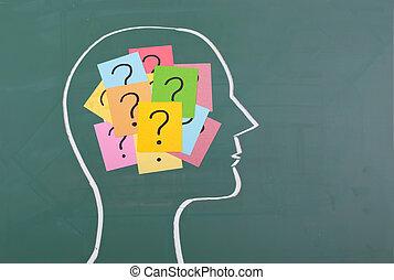 spørgsmål, hjerne, mærke, menneske, farverig