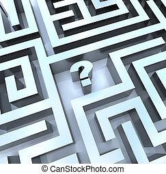 spørgsmål, -, mærke, svar, labyrint, grundlæg